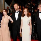 "L'équipe du film ""Louder Than Bombs"" : Gabriel Byrne, Isabelle Huppert, Joachim Trier, Rachel Brosnahan et Devin Druid"