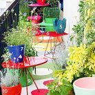 Decoration shopping tendance balcon terrasse verdure color block