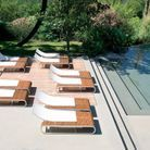 Bain de soleil aluminium et bois