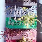 Des boîtes en plastique pour accueillir des bouquets de fleurs séchées