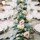 Chemin de table en eucalyptus sur table épurée