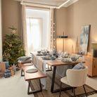 Du bleu ciel pour décorer la table de Noël