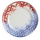 Assiette porcelaine bleu blanc rouge