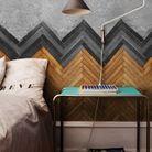 Une tête de lit en parquet à chevrons
