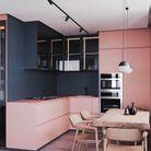 Cuisine d'architecte rose et noir