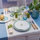 Deco De Table Nappe Bleue