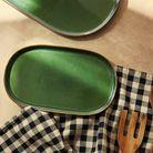 Plat vert en grès