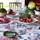 Déjeuner au potager fleuri