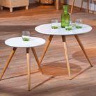 Table gigogne blanc et bois