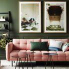 Un salon coloré vert et rose