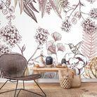 Papier peint fleuri panoramique Orée du bois Terracotta Le Grand Cirque