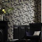 Un papier peint tropical noir et blanc