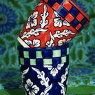 Mug bleu et vert / damier
