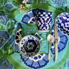Ramequin rond bleu et vert