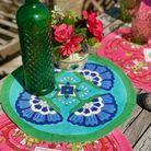 Set de table indien vert et bleu