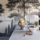 La cuisine et son panoramique en grisaille