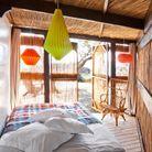 Chambre bohème dans une cabane