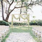 Parterre de fleurs pour cérémonie de mariage extérieure