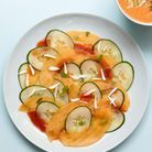 Recette minceur rapide : carpaccio melon-concombre