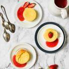 Cheesecakes légers à la fleur d'oranger, coulis de fraise