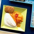 Compote de mangue pimentee et fromage blanc battu