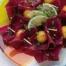 Viande des grisons, melon, citron vert et pistaches