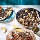 Cuisine recettes été grandes tablées : Coquillages au barbecue, pesto menthe-coriandre
