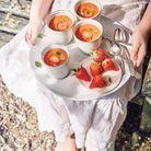 Gaspacho de fraises et tomates au basilic