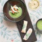 Gaspacho vert, rouleaux d'été au crabe