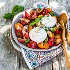 Salade caprese aux nectarines rôties