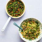 Haricots verts sautés, tofu fumé et sésame