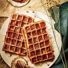 Gaufres avoine et haricots rouges à la cannelle et au miel