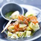 Saumon fumé et pommes de terre sauce gravad lax