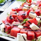 Salade pastèque, feta, et basilic