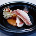 Rougets grondin « soupe de poisson», chantilly fumée au lard