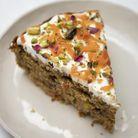 Carotte cake à la poudre d'amande, glaçage à l'eau de rose