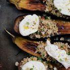 Aubergines grillées, quinoa aux fruits secs et burrata