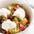 Salade de tomate, burrata et basilic
