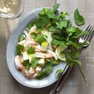 Salade crevettes pommes menthe