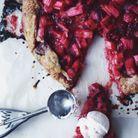 Tarte à la rhubarbe et framboise