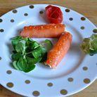 Roulé de saumon fumé aux oeufs de saumon par Claire Hache