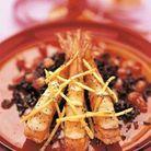 Crevettes en bouquet et riz noir