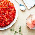 Tarte aux fraises, sorbet fraise citron