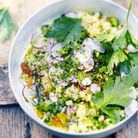 Couscous végétal, gremolata, persil, amandes et graines