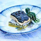Esturgeon au beurre de caviar, macaronis au caviar