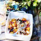Filets mignons farcis aux olives et fruits rôtis au miel