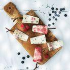 Glace yaourt, myrtilles et framboises
