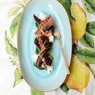 Poulpe grillé, burrata au citron et pousses de brocoli