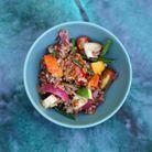 Riz rouge biologique de Camargue sauté aux légumes de printemps et tofu d'Armand Arnal