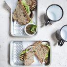 Sandwichs aubergine, sauce coriandre
